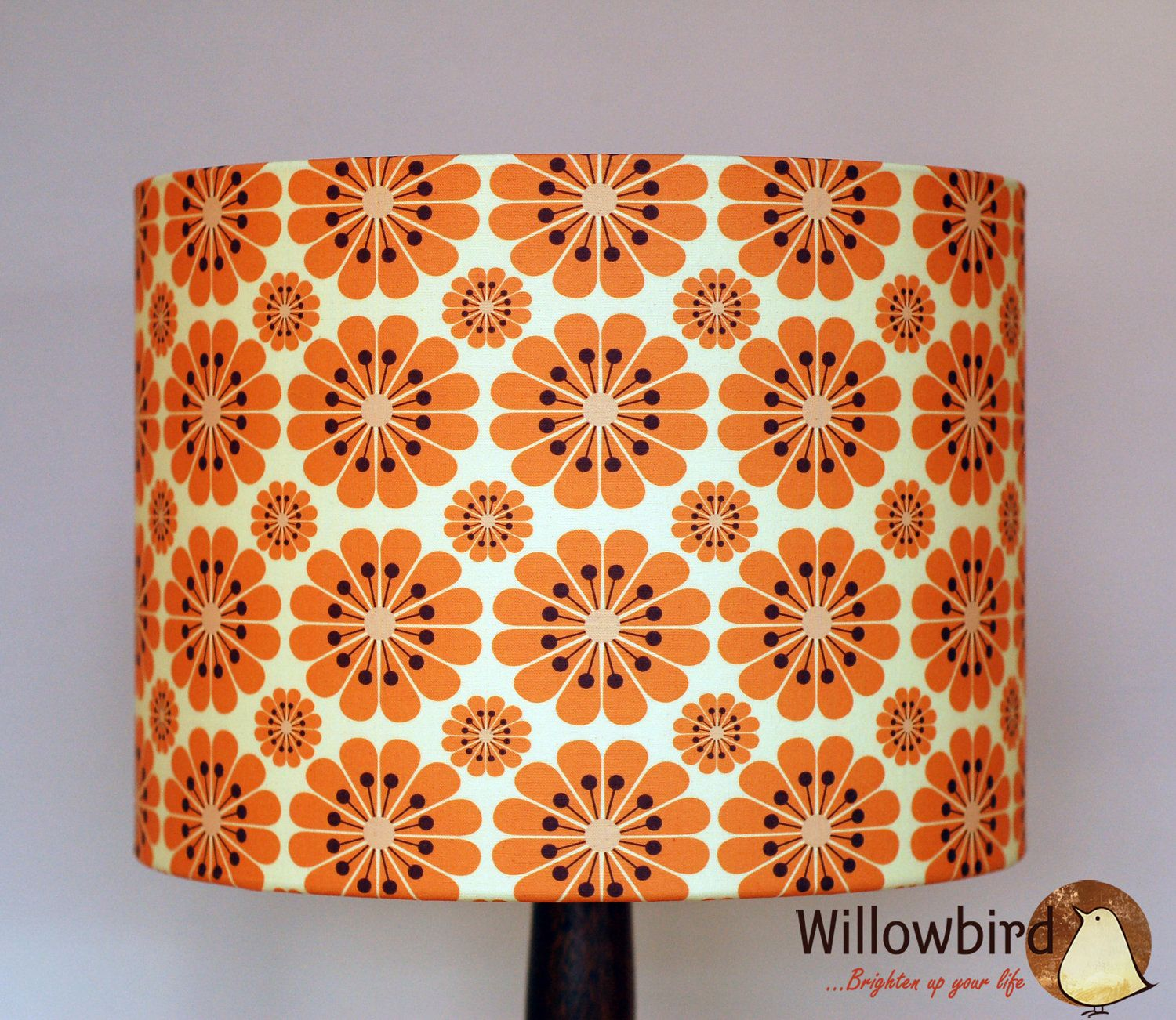 New retro lamp shade 30cm tangerine flower design 5565 via new retro lamp shade 30cm tangerine flower design 5565 via etsy aloadofball Gallery