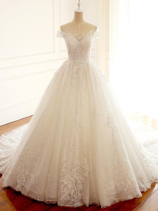 Cap Sleeve Scoop A-line Long Custom Cheap Wedding Bridal Dresses, WD297