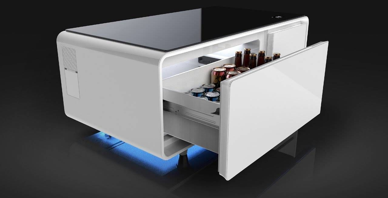A coffee table that is part fridge part smart device