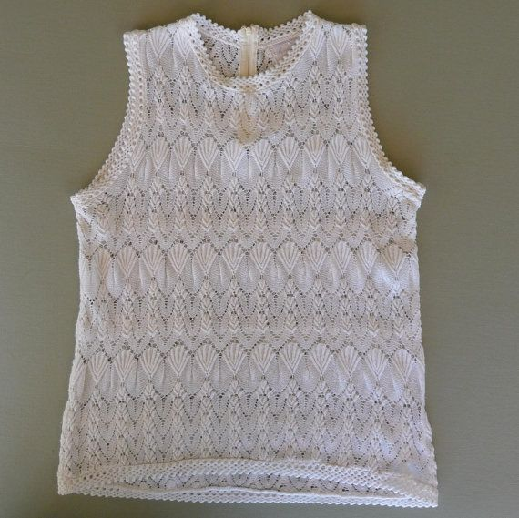 Vintage 1960's Off White Mod Sleeveless Woman's Shell, Sweater, Shirt, Zips In Back,  Size Medium,  Good Condition
