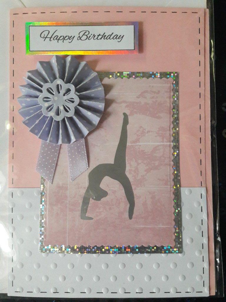 Gymnastics themed birthday card.   Cricut cards, Themed cards, Cards