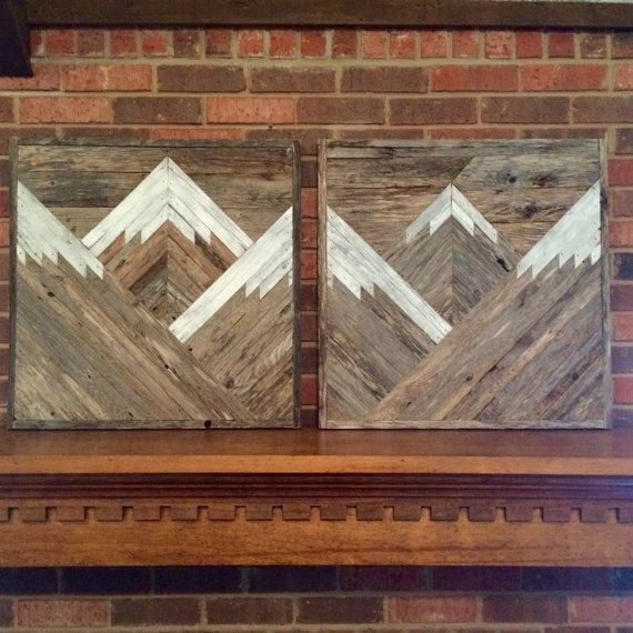 Transitional Nursery With Rustic Wood Wall: Rustic Mountain Tops Set Of 2. Reclaimed Wood Wall Art