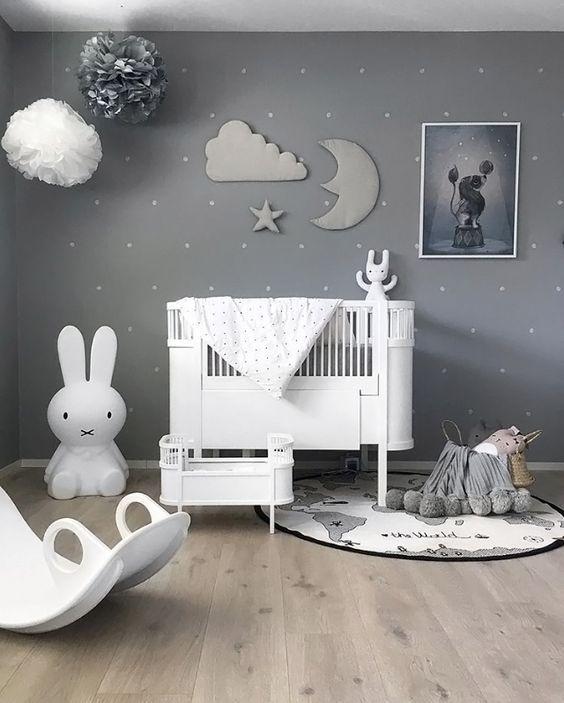 21 Gorgeous Gray Nursery Ideas: A Beautiful Grey Nursery With A Sky Theme, Paper Pompoms