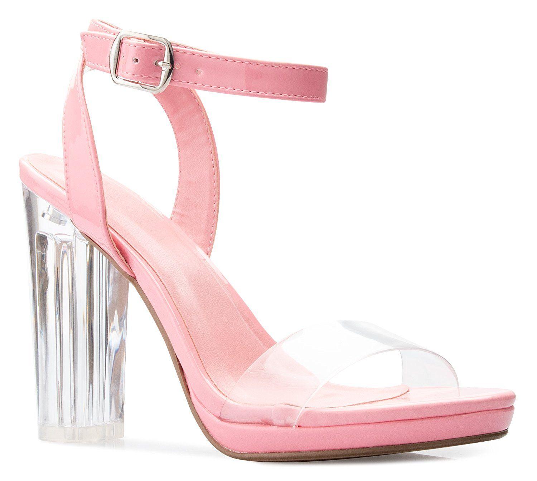 Pink Clear Block Heel Mules | Clear block heels, High heels