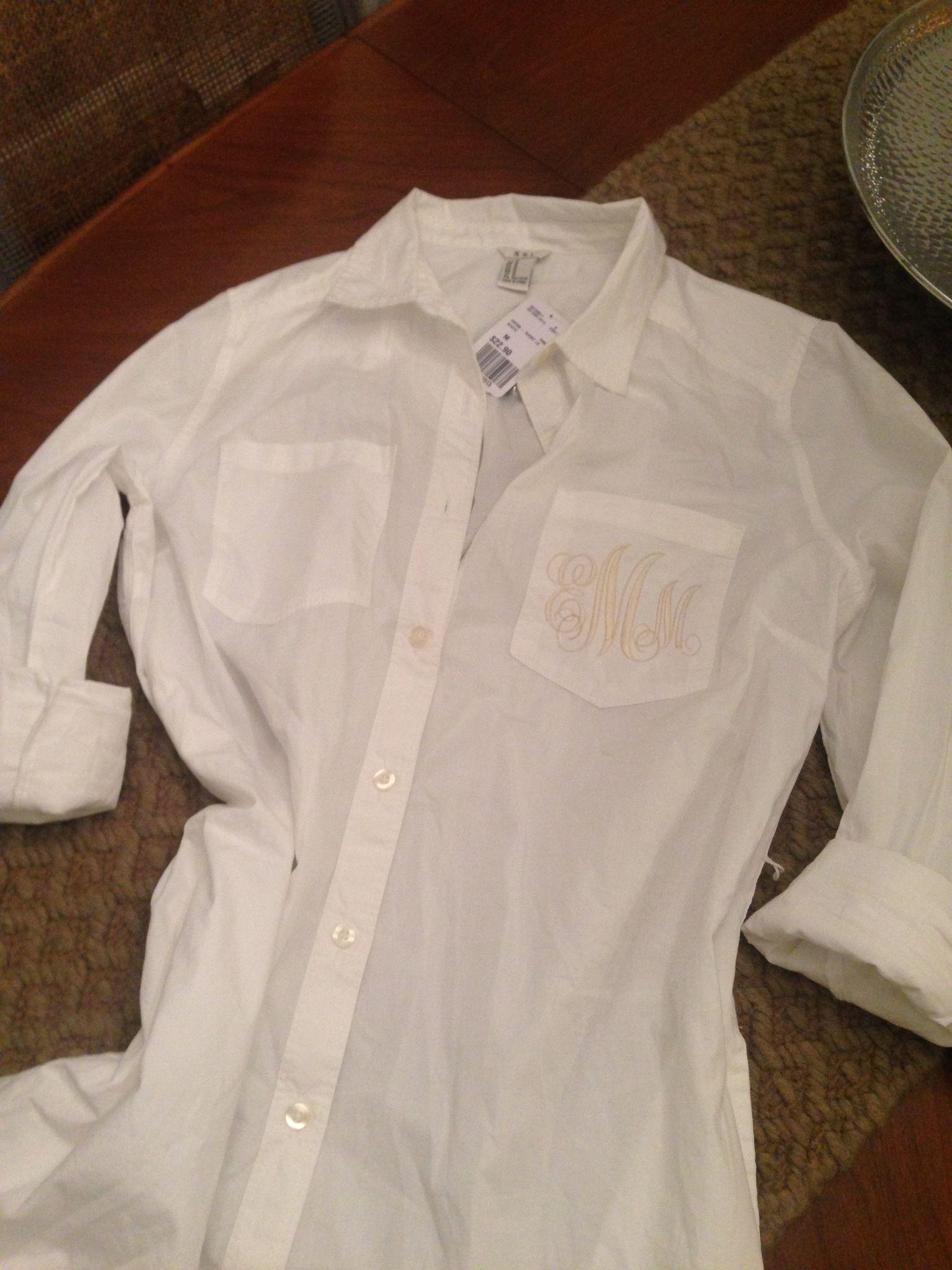 Monogrammed shirt dress coverup