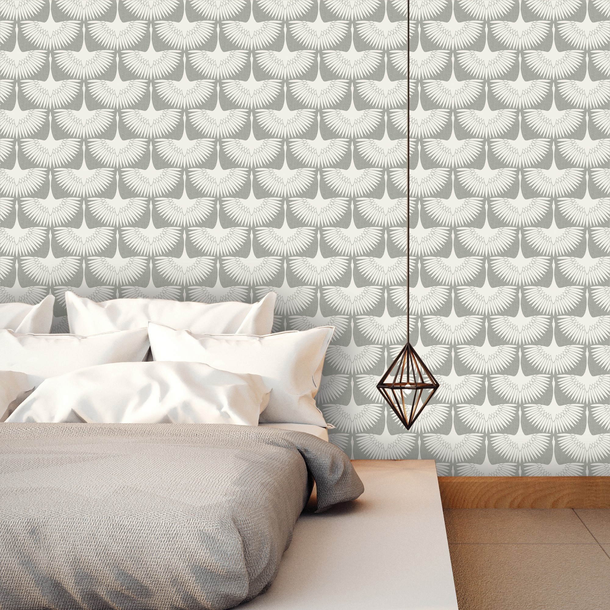 Feather Flock Self Adhesive Removable Wallpaper By Genevieve Gorder Chalk Gray