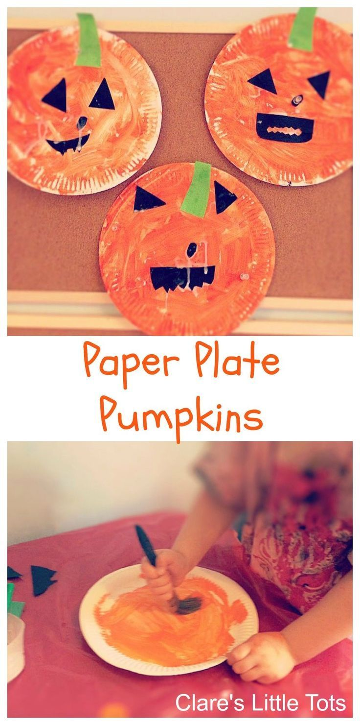 Paper plate pumpkins easy Halloween craft idea for toddlers and preschoolers. #ad #halloweencraftsfortoddlers