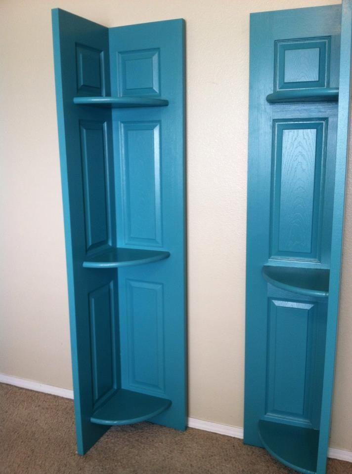 Closet Bifold Doors Turned Corner Shelves We Have A Bifold Door That Has A Hole On One Side This Could Work Old Closet Doors Diy Door Doors Repurposed