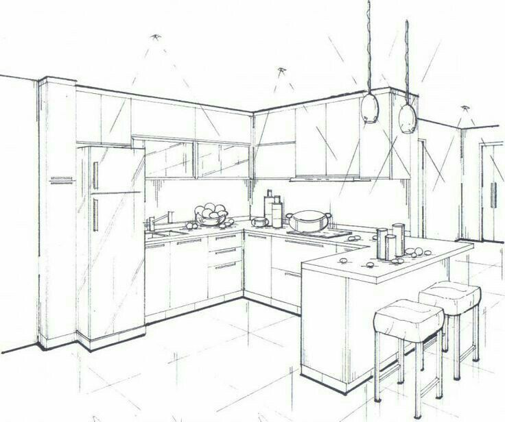 kitchen drawing perspective. Beautiful Kitchen Interior Sketch Drawing Interior Rendering Perspective  Lessons Kitchen Drawing Design Kitchen Decor Designs  Inside