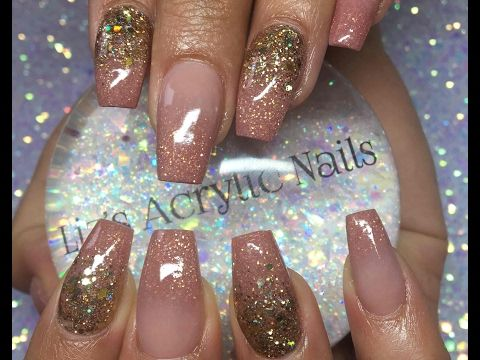 Acrylic Nails Infill Ombre And Glitter Rose Gold Youtube Rose Gold Nails Acrylic Gold Acrylic Nails Ombre Nails Glitter