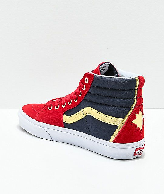 Vans x Marvel Sk8 Hi Captain Marvel Red, Blue & White Skate