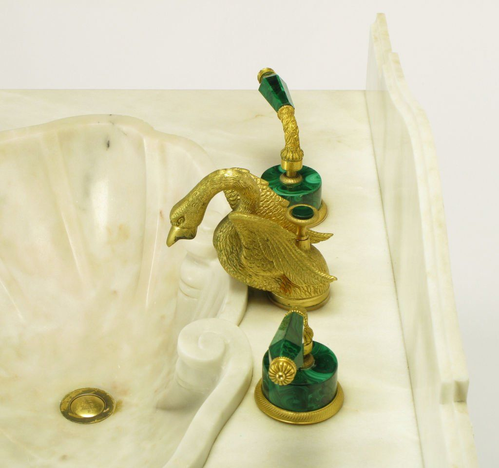 Vintage Sherle Wagner Malachite and Gold Plated Faucet Set at ...