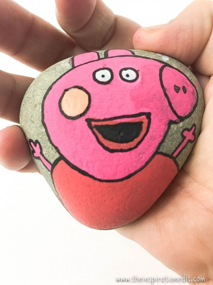 How To Make Painted Rocks Pepper Pig Style is part of Arts and crafts for kids, Fun crafts for kids, How to make paint, Easy crafts for kids, Painted rocks kids, Kids art projects - Do you want to know how to make painted rocks  Here is a rock painting tutorial and the supplies you will need for basic rock painting for kids or adults  We show you how to make a peppa pig rock stone