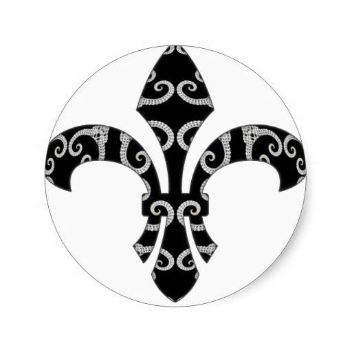 Bone Spirals Fleur de Lis Round Stickers