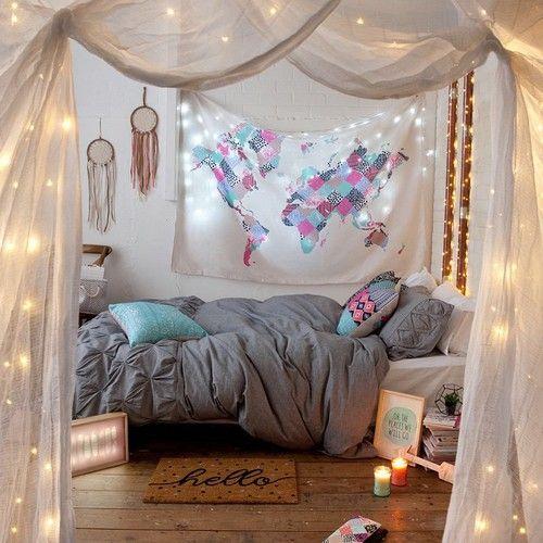 interior indie tween teen bedroom cyan blue pink grey tumblr lights
