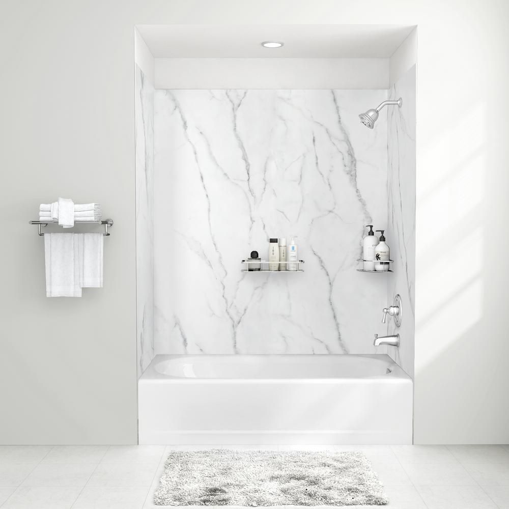 American Standard Passage 32 In X 60 In 4 Piece Glue Up Alcove Bath Wall In Serene Marble P2974bwt 377 Bathtub Walls Custom Bathtub Shower Wall