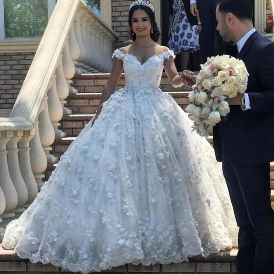 Ball Gown Wedding Dress 2019 Off The Shoulder Hand Made Flowers 3d