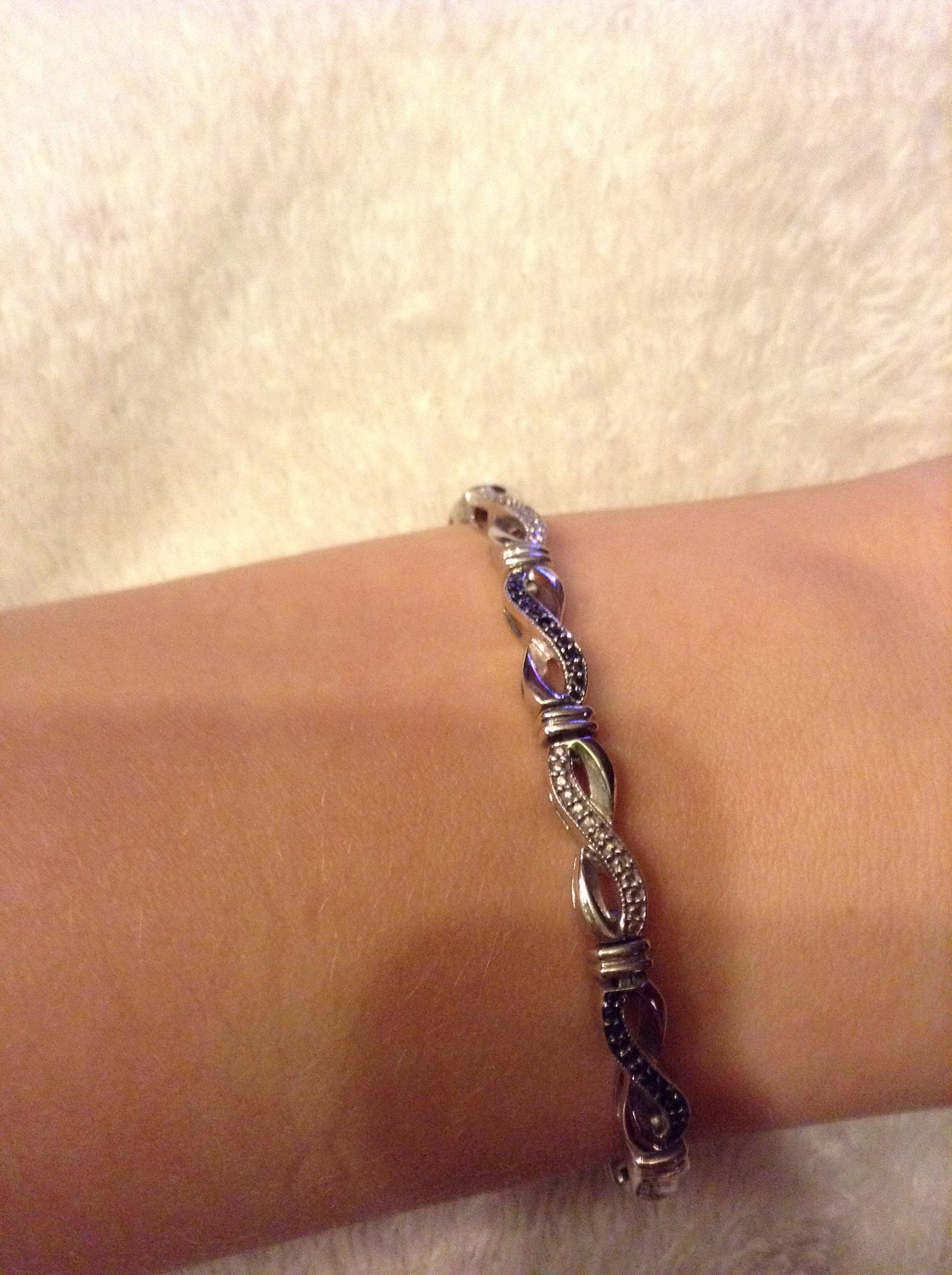 Sterling Silver Black And White Diamond Infinity Bracelet From Kay