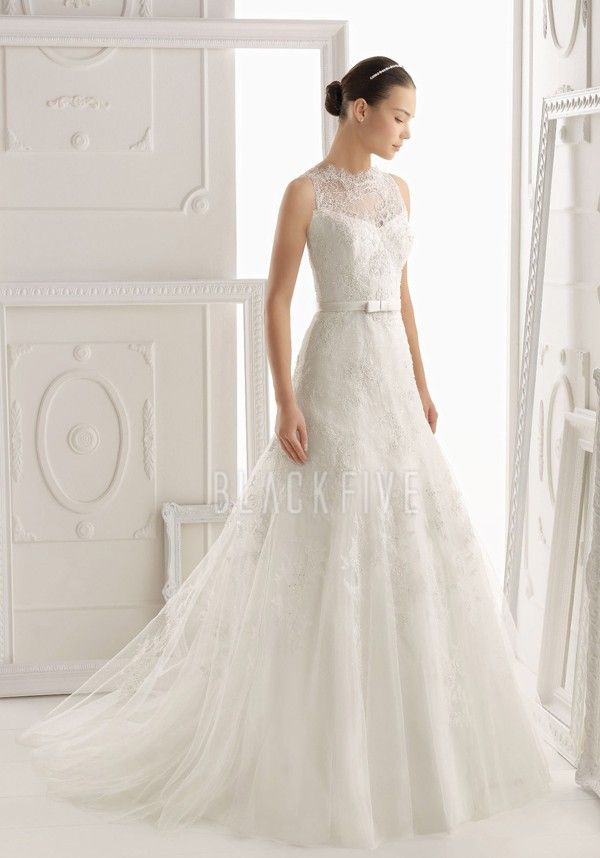 Elegant Fit N Flare Lace Floor Length Jewel Neck Bridal Gowns With Sash/ Ribbon $359.99 Lace Wedding Dresses