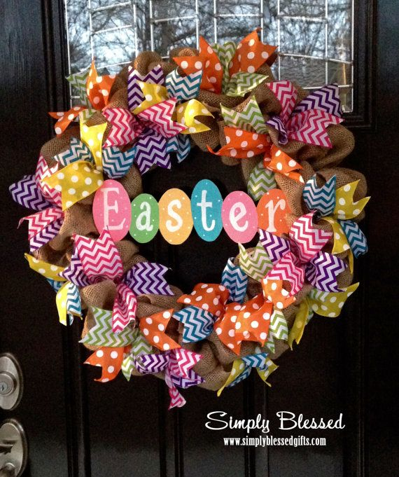 Photo of Items similar to Spring Chevron Burlap Wreath – Easter Pastel Colors – Pink, Teal, Purple, Yellow, Lime Green, Orange – for front door or accent on Etsy