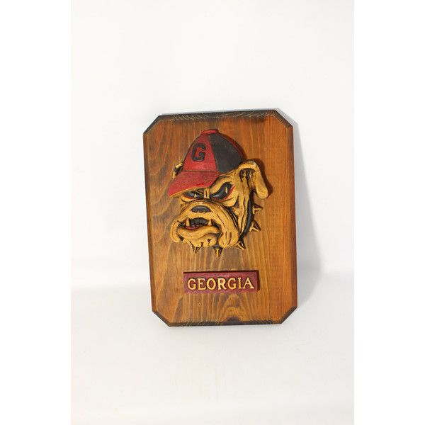 Vintage Georgia Bulldogs University Football Team Wall Plaque (u20ac27) ❤ Liked  On Polyvore Featuring Home, Home Decor, Wall Art, Football Wall Art, ...