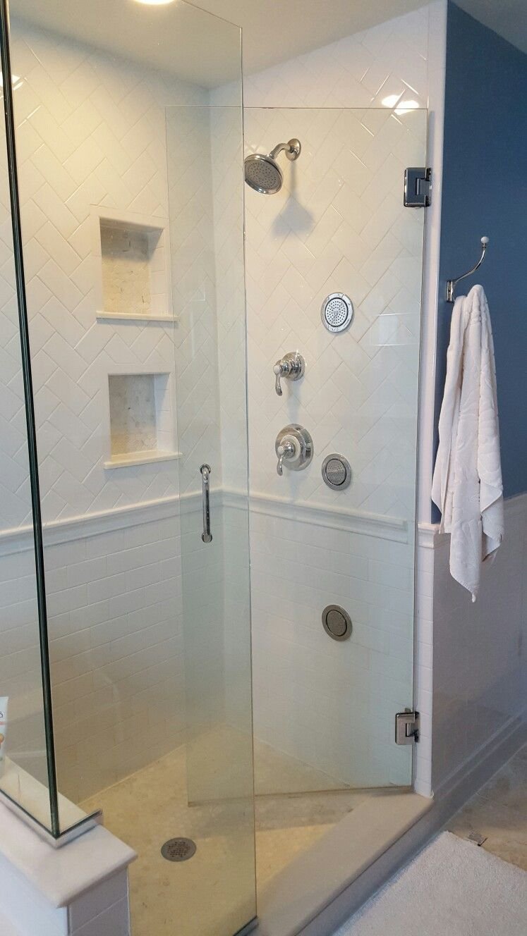 Carrara Marble Hex Tile In The His And Hers Shower Niches Matches The Floor Tile Herringb Bathroom Shower Walls Bathroom Redecorating Bathroom Remodel Master
