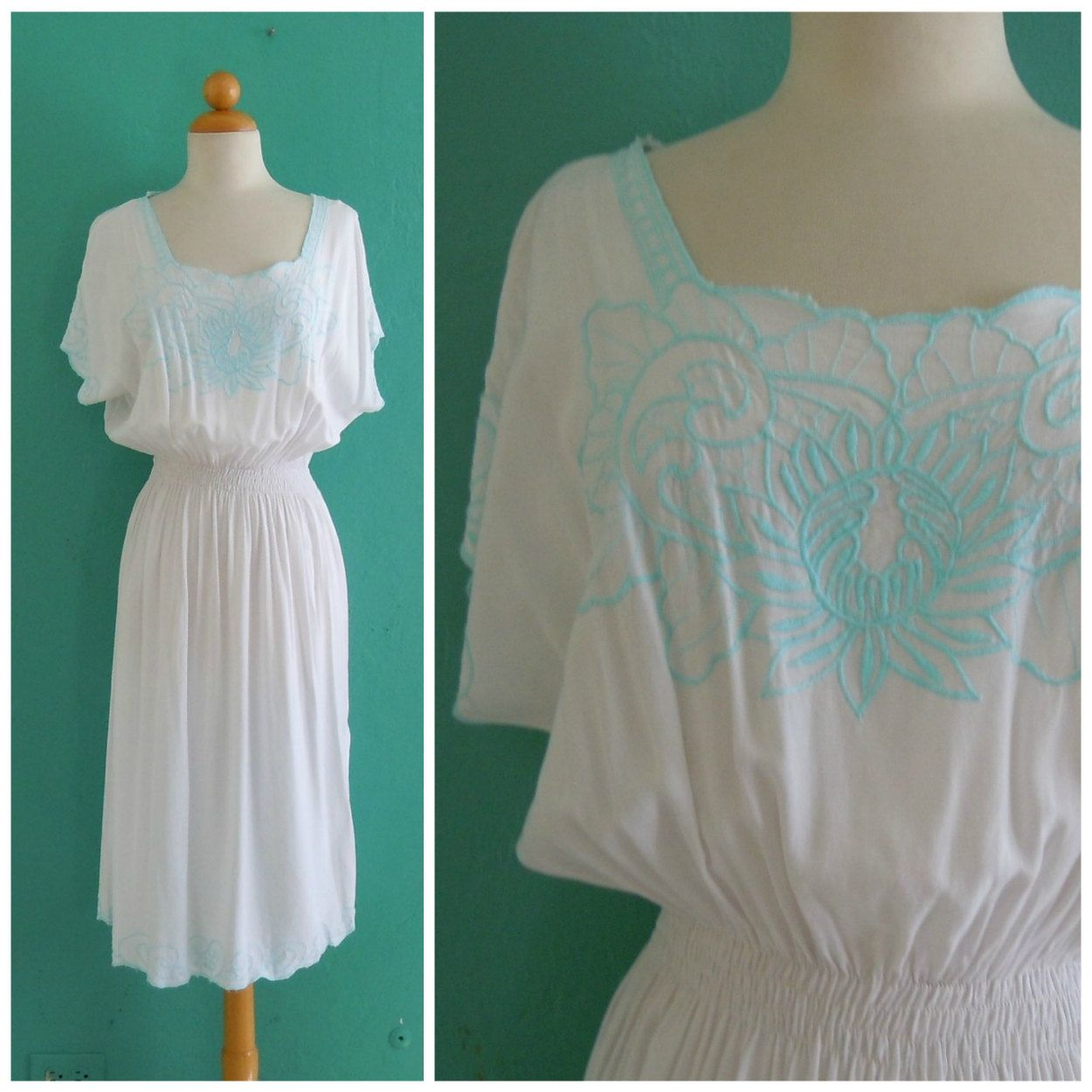 Vintage 80's White Summer Dress With Blue Embroidery By