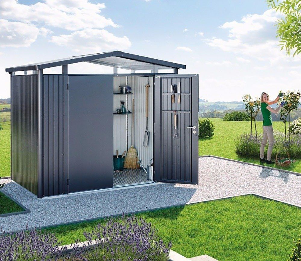 Biohort Panorama P2 Metal Shed 9 X 6 Ft With Double Doors In 2020 Metal Shed Shed Shed Construction