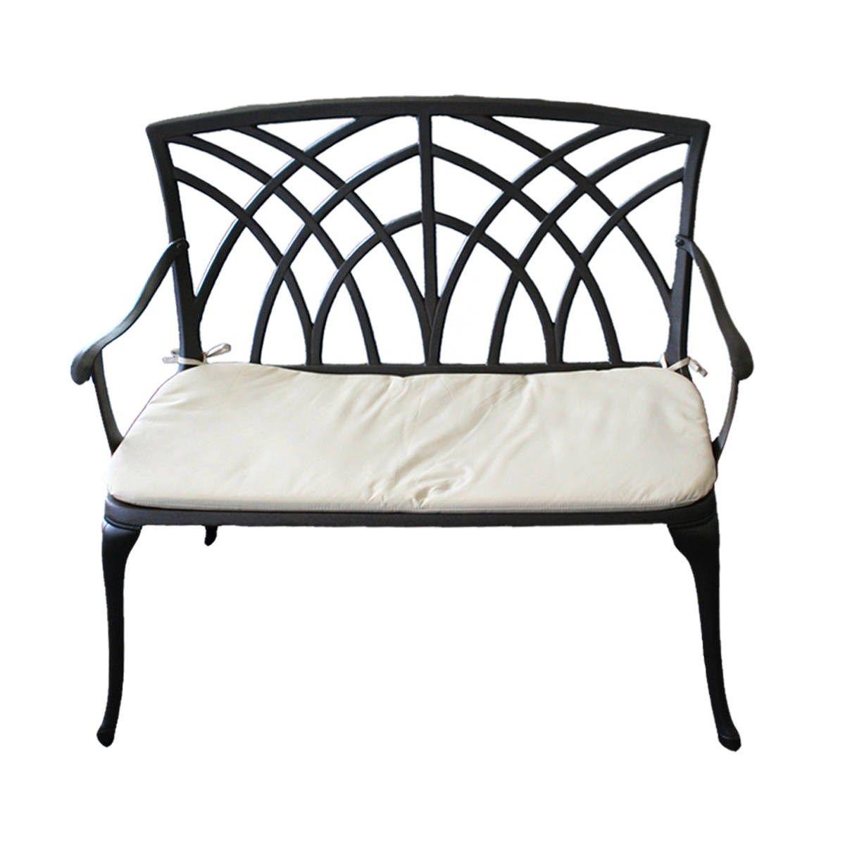 Cast Aluminium Garden Bench With Cushion Patio Bench Garden