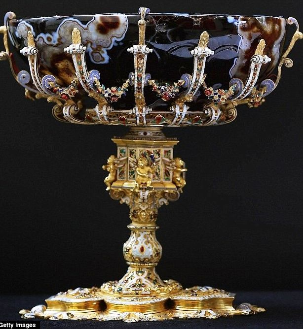 The Bowl is Byzantine  The tazza is a bowl mounted on a 16th-century gold stand. The bowl was purchased by the 10th Duke of Hamilton while he was the British Ambassador in Russian from 1807 to 1808. The gold foot was then purchased in 1812 and the two pieces were united to create the tazza.