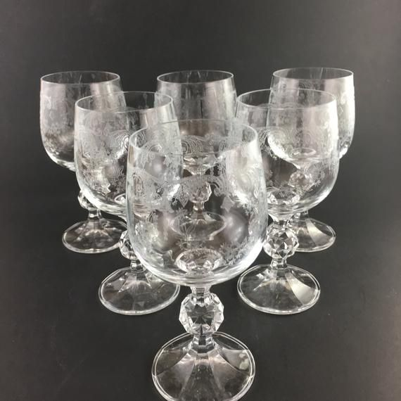 Early Glass Goblets Facet Cut Ball Stem Engraved Wine Glasses