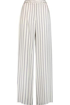 Iris and Ink- Striped Jacquard Wide-leg Pants - Navy