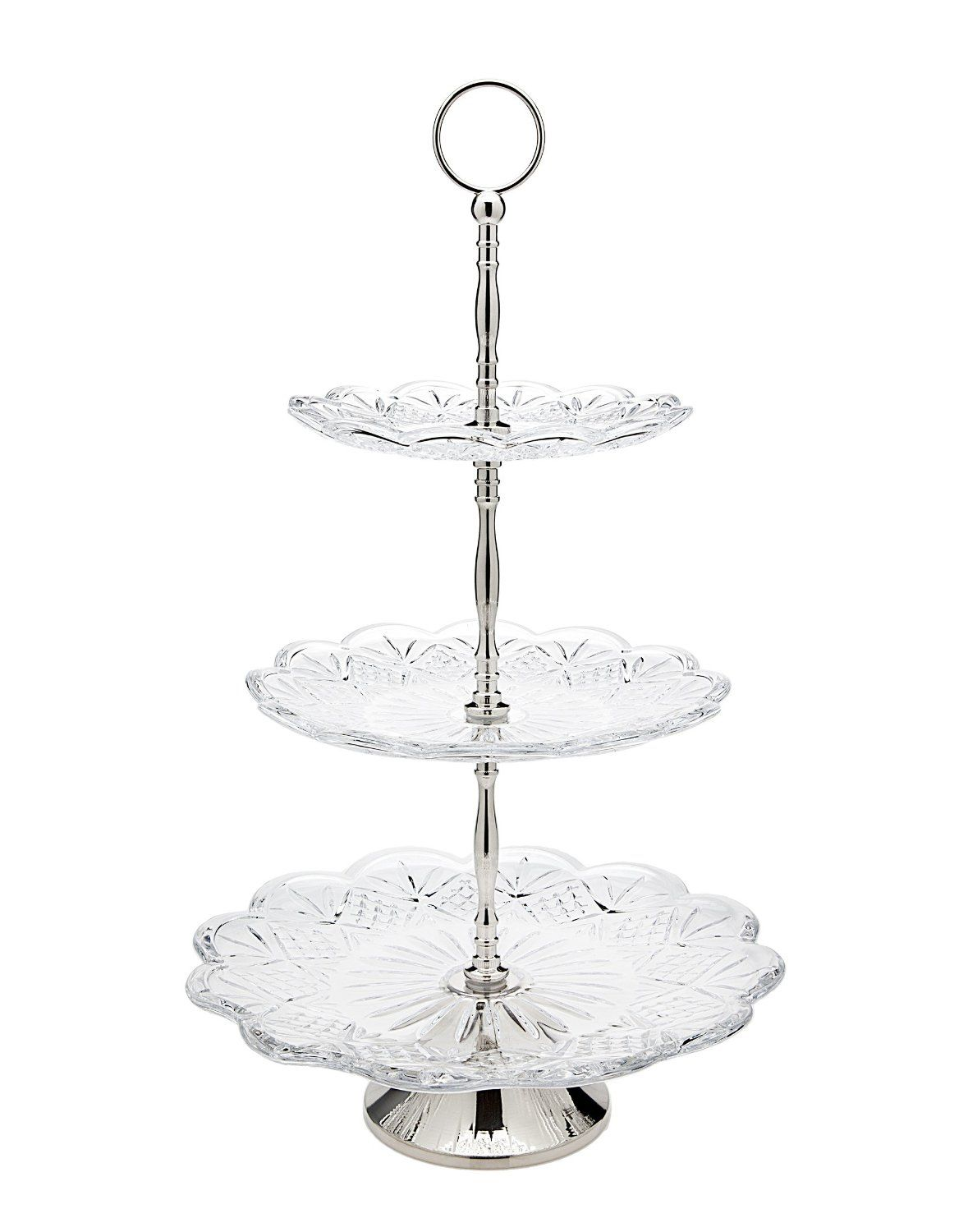 Amazon Com Godinger 25506 Dublin Dinnerware Dublin 3 Tier High Server Trays Serving Trays Dublin Crystal Tiered Server Crystal Cake Stand