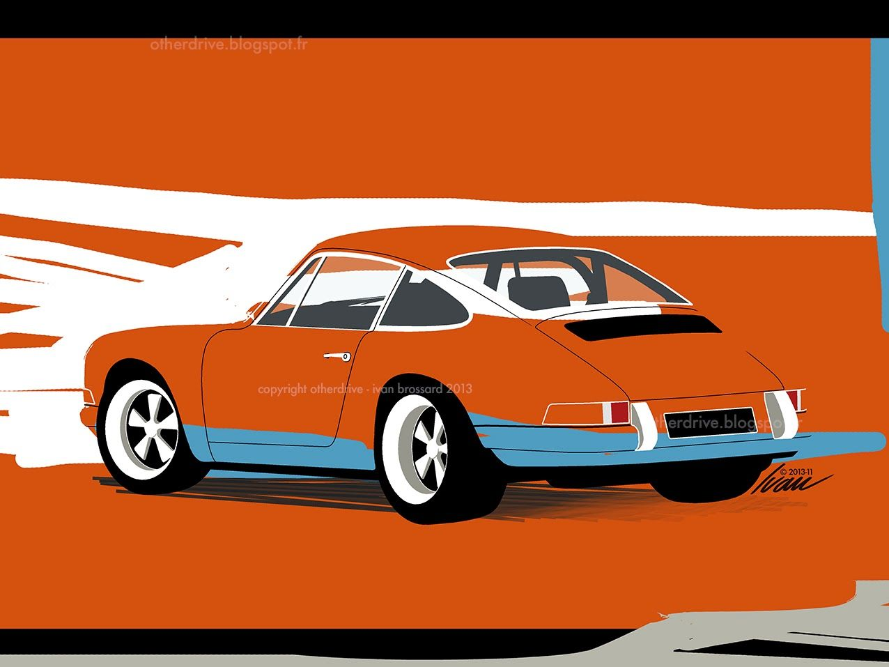 Porsche 911 ivan brossard cars illustrations - Dessin de porsche ...