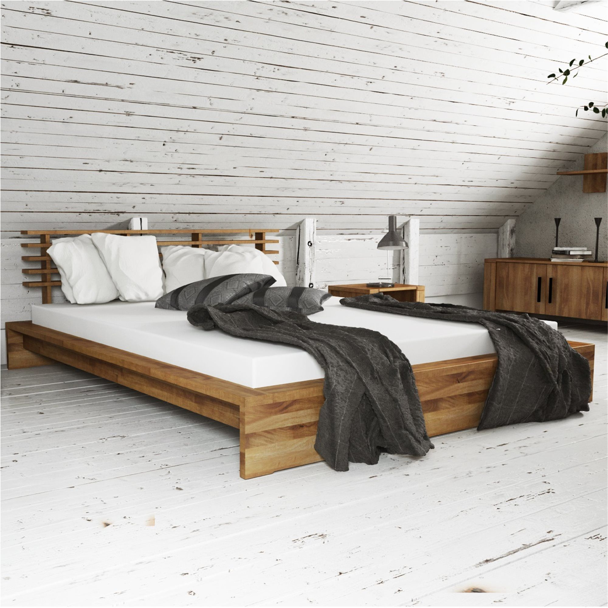 Low Bed Cubic Low Bed Frame Low Bed Solid Wood Bed