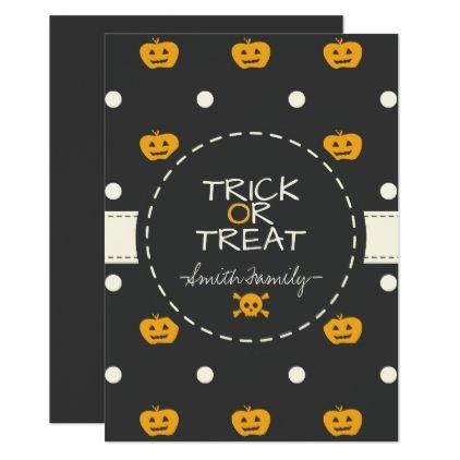 Trick or treat jack o lantern white polka dots card white gifts jack o lantern white polka dots card white gifts elegant diy halloween invitationsparty stopboris Images