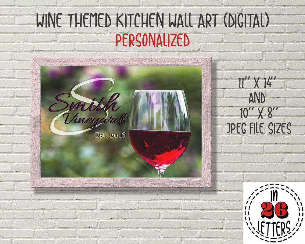 Wine wall art for kitchen personalized wine lover gift wine theme