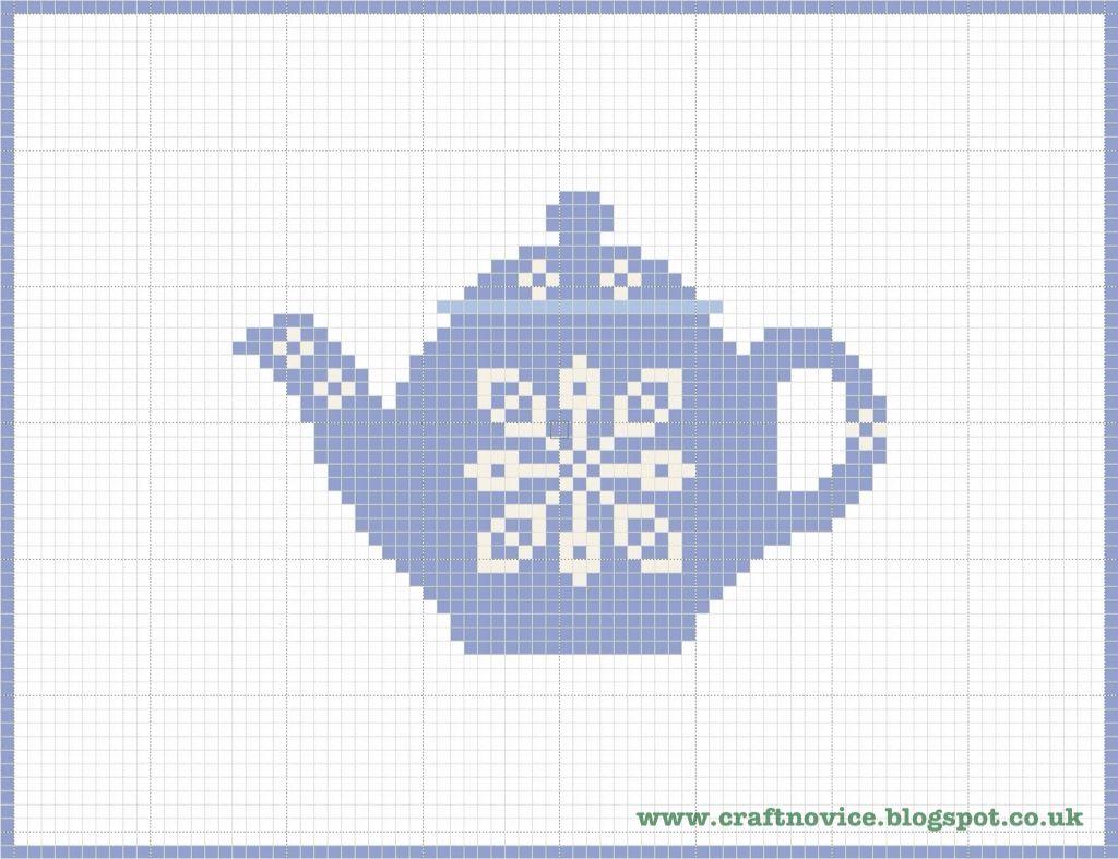 Craft Novice: Simple Cross Stitch Teapot Pattern
