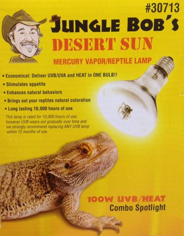 Jungle Bob Desert Sun 100w Mercury Vapor Bulb Aquarium Decor Deserts Desert Sun