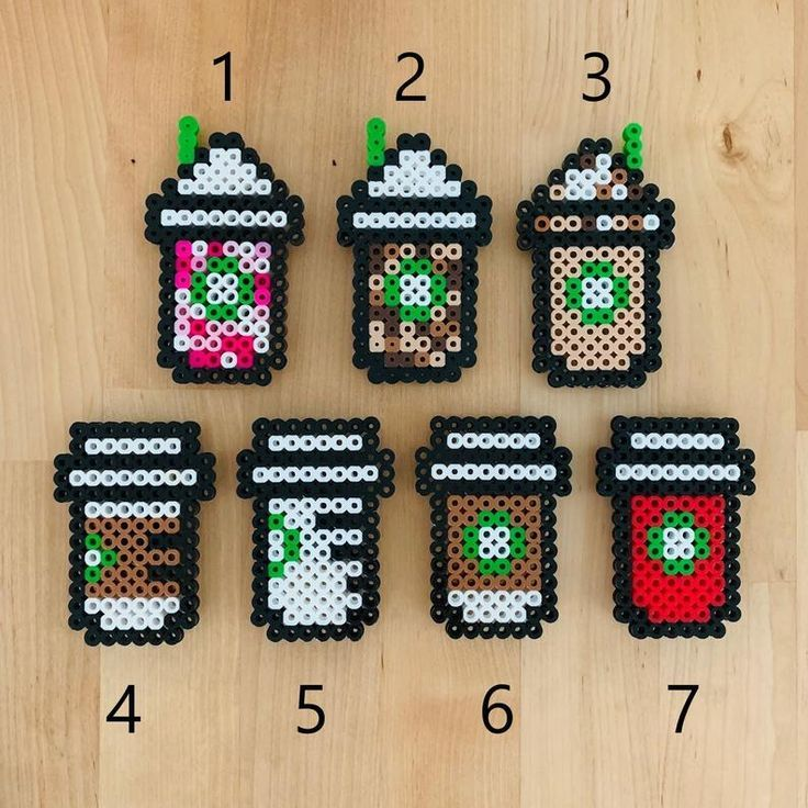 perler beads kawaii coffee cup | Perler beads, Perler beads