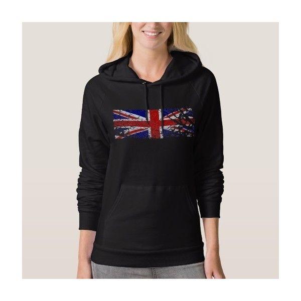 Vintage Peeling Paint Union Jack Flag Hooded Sweatshirts ($51) ❤ liked on Polyvore featuring tops, hoodies, hoodie top, sweatshirt hoodies, vintage hooded sweatshirt, vintage tops and union jack top