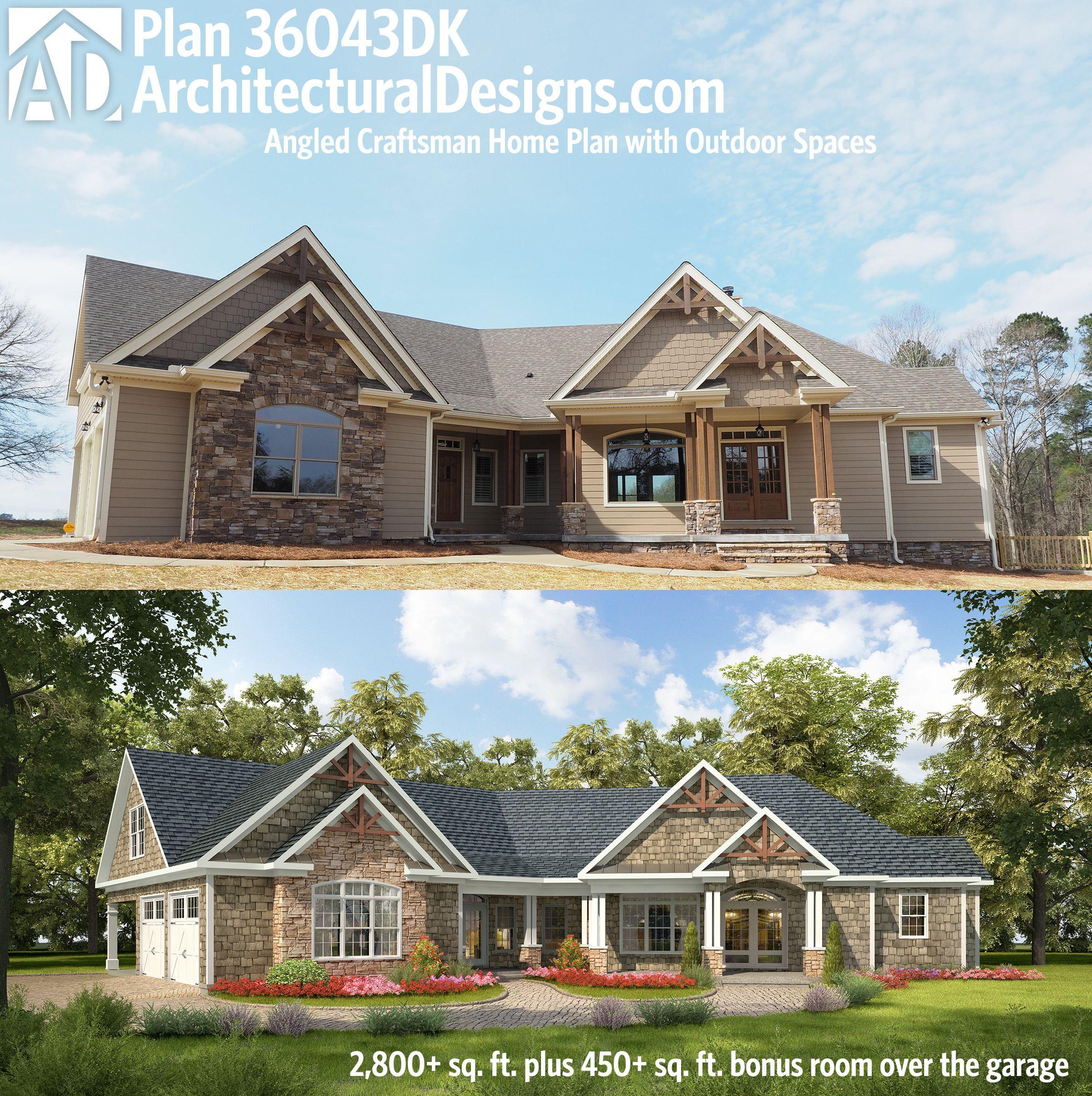 Craftsman Style Det Garage Garage Plans: Plan 36043DK: Angled Craftsman Home Plan With Outdoor