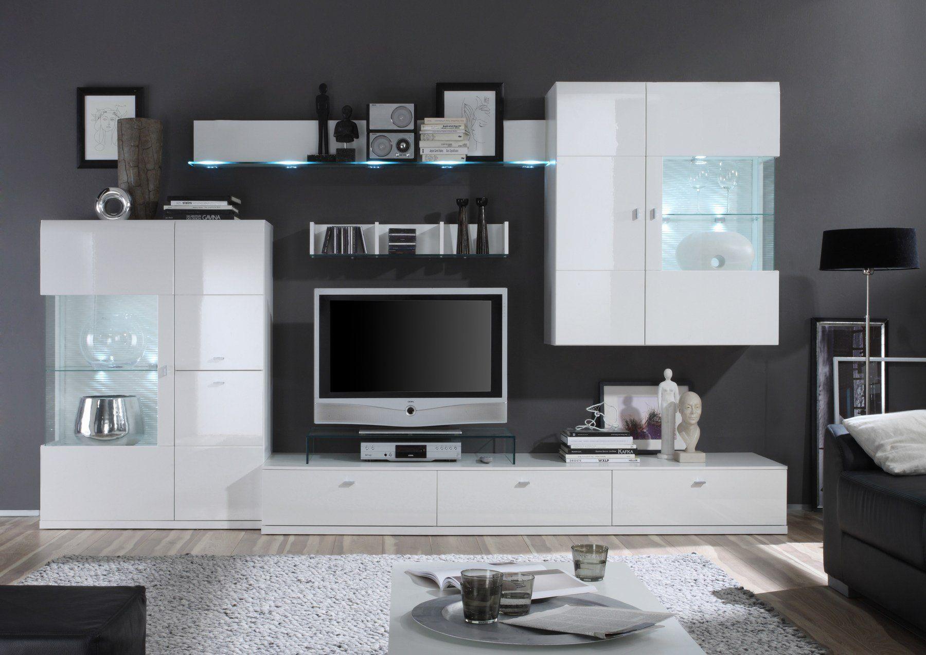 Tolle wohnwand weiß lack -  Graue wände wohnzimmer, Möbel