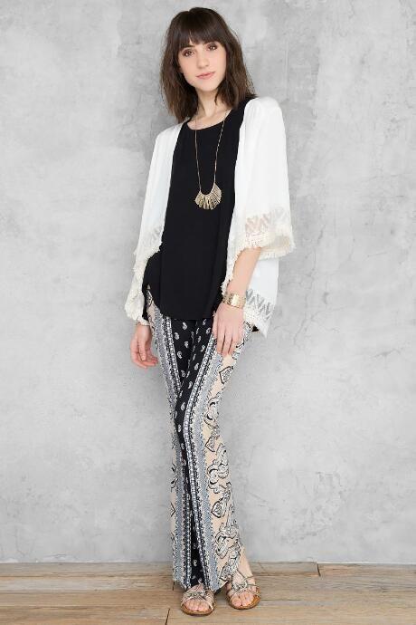 Blanche Fringe Kimono $38.00