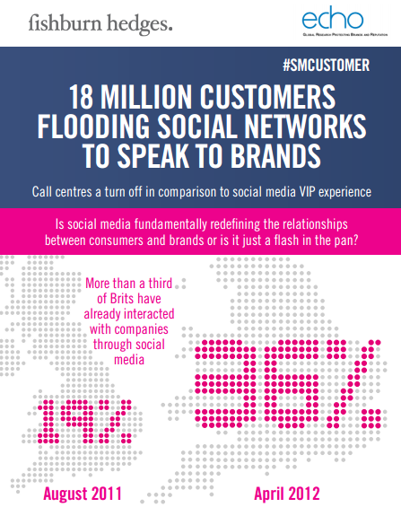 Fishburn Hedges Infographic. '18 million customers flooding social networks to speak to brands'
