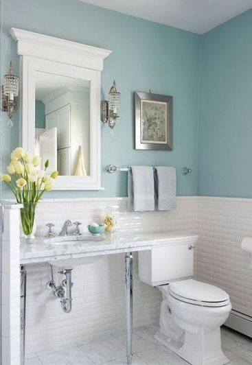 blue small bathroom design