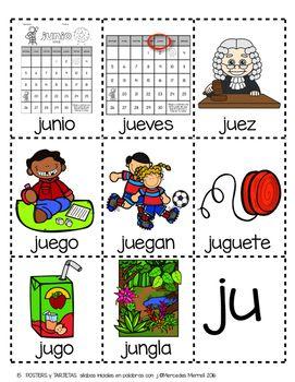 Posters Y Tarjetas De Silabas Iniciales En Palabras Con J En Espanol Word Cards Kindergarten Literacy Letter J