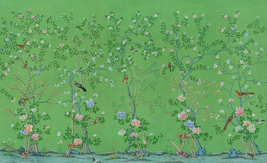 Pin by chinoiserie wallpaper hand painted wallpaper for Raumgestaltung deutsch