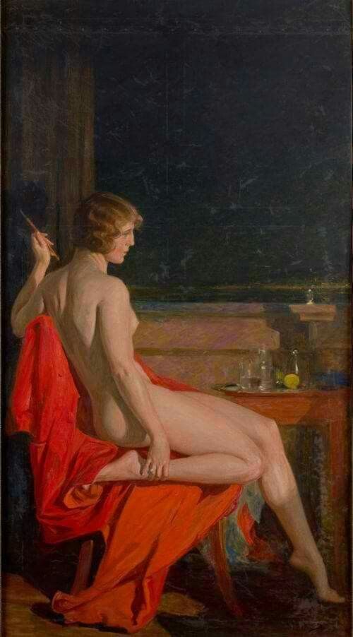 Paja Jovanovic- Female Nude Sitting on a Red Frock- Beautiful Hermina Muni Dauber, painter's while and his most presented model. She was 25, he was 58, when they married.