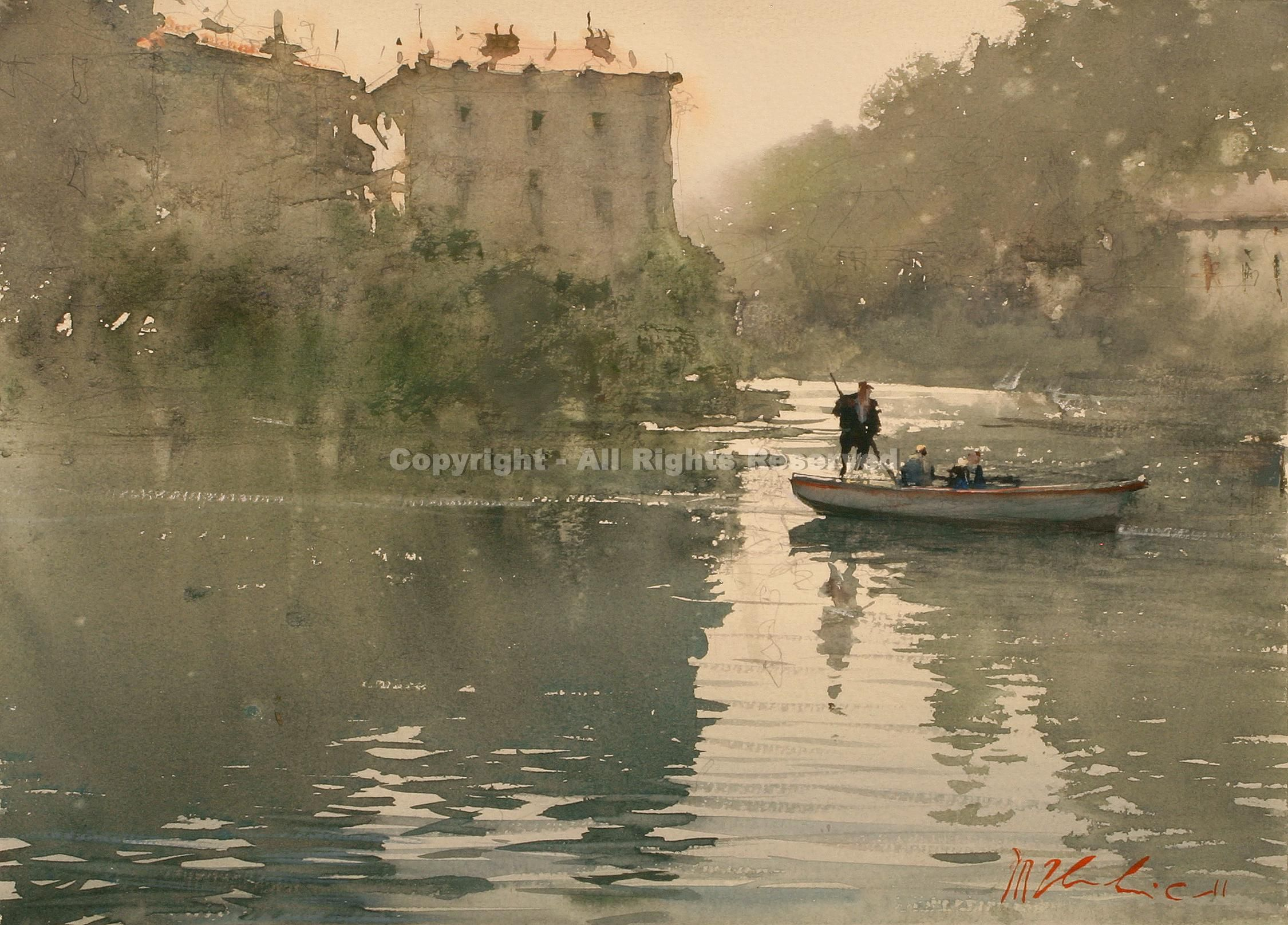 Punting Across the Loire - Watercolor by Joseph Zbukvic